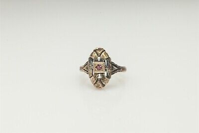 Antique 1940s ART DECO Genuine PINK Diamond Sterling Silver Ring