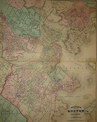2 Vintage 1878 BOSTON & MASSACHUSETTS CT RI MAPS Antique Original Authentic