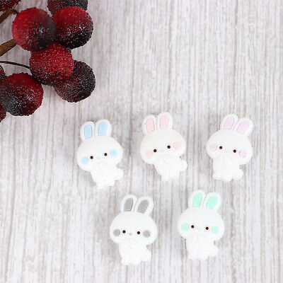 5X Rabbit Silicone Beads For Baby Teether Soother Teething Gift Chain Food Grade