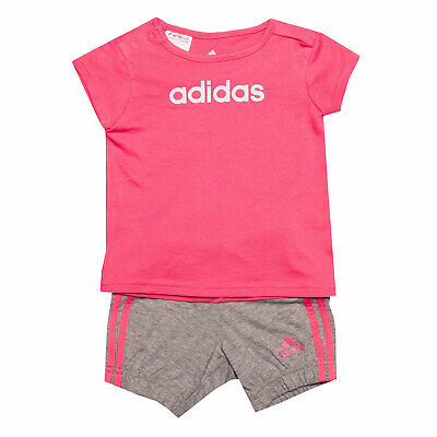 Infant Girls adidas Easy G Set In Pink Grey- T-Shirt:- Cap Sleeve- Button To