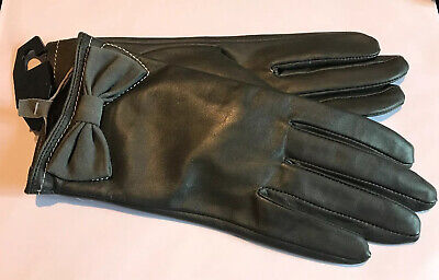 Dents Ladies Grey Leather Lined Gloves Size 7.5 Large Bnwt