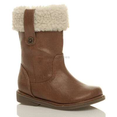 Girls Kids Childrens Flat Low Heel Winter Fur Cuff Calf Zip Up Boots Size