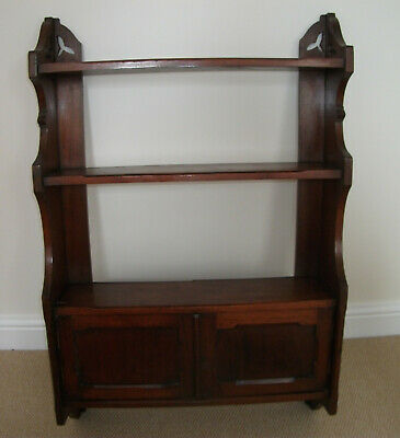 EDWARDIAN SATIN WALNUT WALL CABINET with SHELVES OVER