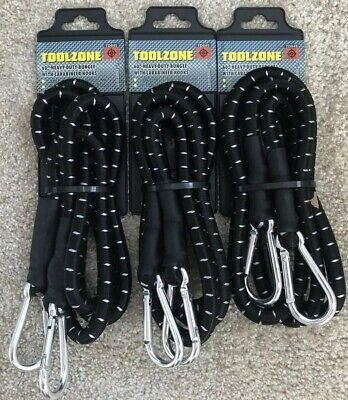 "3 x 60""(1500mm) X 12mm Thick Heavy Duty Elastic Bungee/Tie With Carabineer Hooks"