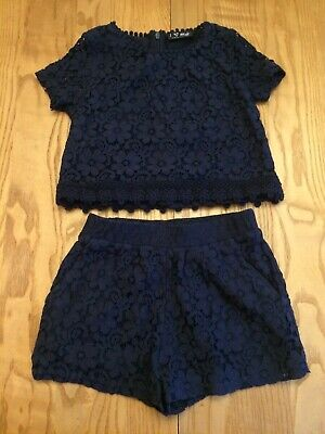 Girls Top And Shorts Set Navy Blue Next Age 6 Yrs