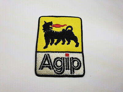 Iron on patches Agip Logo Racing Sponsor 7,5x4,4 Application badges white