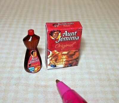 Miniature Pancake Mix Box and Syrup Bottle for DOLLHOUSE 1/12 Miniatures