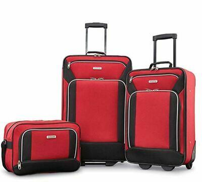Fieldbrook XLT 3 Piece Set Red Red Black Polyester Lining Luggage Travel Sets US