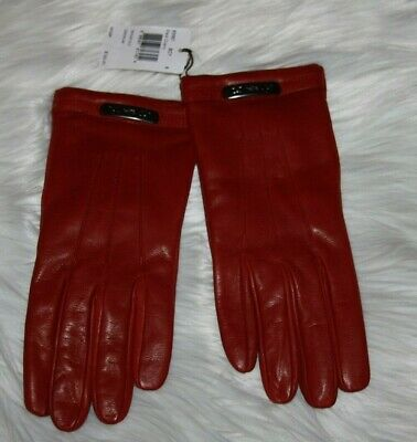 Coach Leather Swagger glove black cherry   Women's size 8