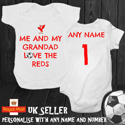LIVERPOOL PERSONAL FOOTBALL BABYGROW DADDY SON GRANDAD NAME NUMBER 3 6 9 Months