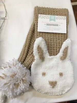 Childs Hand Knitted Scarf Rabbit Motif