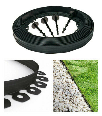 Garden Edging Border Flexible Lawn Grass Plastic BLACK + Extra Strong Pegs