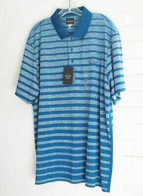NWT Greg Norman Tasso Elba Mens Abstract Striped Polo Shirt Stretch Limo Sz XL