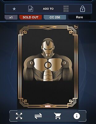 Topps Marvel Collect Gold Deco Iron Man 24 Hour Award Card Rare 237cc (digital)