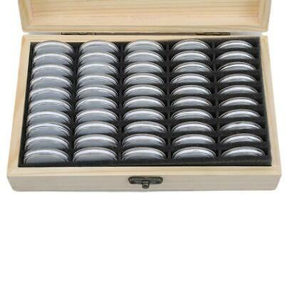 Wood Coins Display Storage Box Case Coin Colletcion with 50 Capsules Art CZ