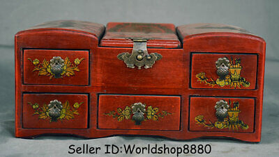 "12"" Old China Wood lacquerware Dynasty Palace Dragon Phoenix mirror jewel box"