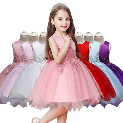 Baby Girl Flower Dress Wedding Bridesmaid Party Skater Lyrical Satin Ball Gown