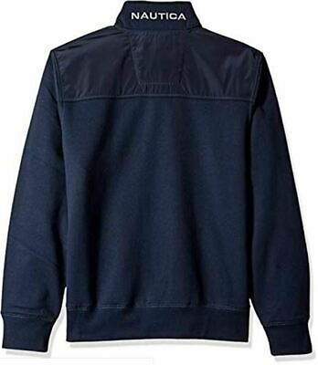 Nautica Men's Polar Fleece 1/4 Zip Back Neck Logo Navy Sweatshirt  XL