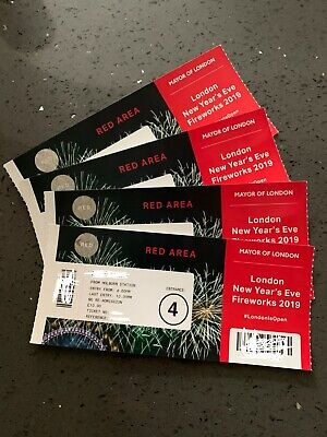 2019 London New year Fireworks tickets. Price for 4 tickets Red Area Entrance 4