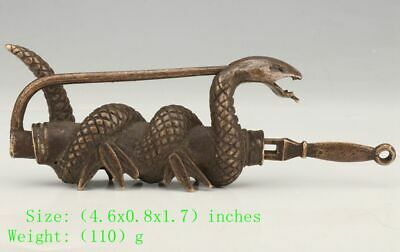 Antique Chinese Bronze Snake Lock Old Mascot Decoration Gift