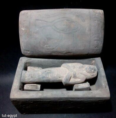 Very Rare Large Huge ancient Egyptian Amarna coffin mummy hieroglyphic antique