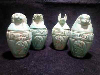 Rare Ancient Egyptian Antiques Faience stone Canopic Jars ( 990–969 BCE)