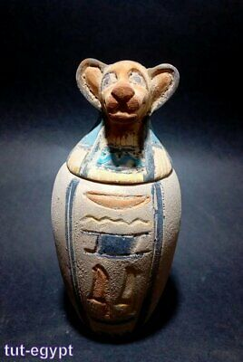 Rare Ancient Egyptian Canopic Jar human antique statue Late Period 715-332 B.C.