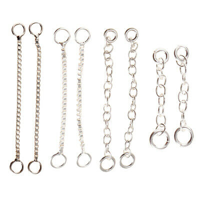 2pcs Jewelry DIY Necklace Earring Chain Extension Link 925 Sterling Silver