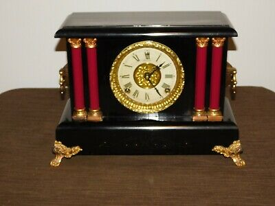 VINTAGE SESSIONS EIGHT DAY WIND UP MANTLE CLOCK with KEY WORKING