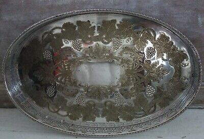 vintage silver plate  on copper viners gallery tray 16x10  inch