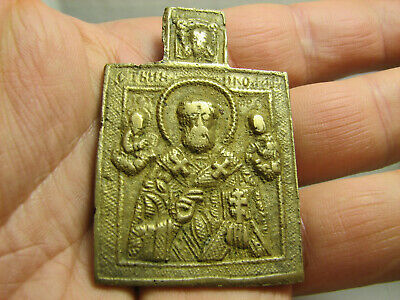 Saint Nicholas Nicolas Russian Church Orthodox Bronze Icon #1465