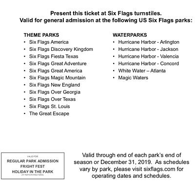 Four (4) Six Flags Tickets Good Until 12/31/2019 *** Only $28 ***