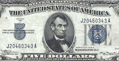 1934A $5 BLUE Seal SILVER Certificate! Old US Paper Money Currency!