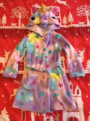 Girls Fleece Unicorn Hooded Dressing Gown 2-3 Years Bnwot