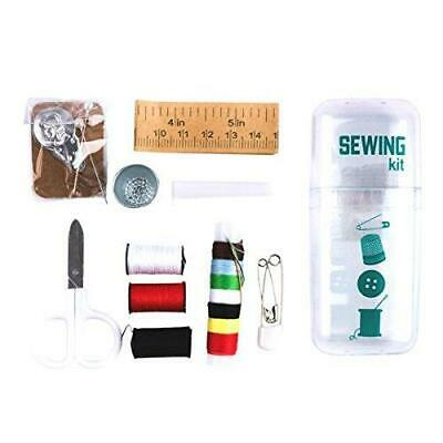 Sewing Mini Kit Scissors Thimble Threads Threader Pins Needles Buttons Ruler New