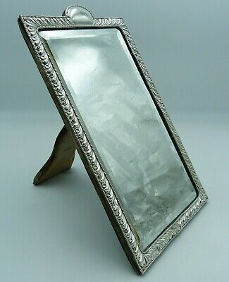 Antique Solid Silver Medium Sized Victorian Dressing Table Mirror - 33.5cms high
