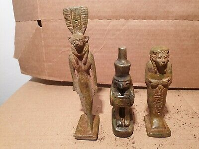 Scarce Ancient Egyptian 3 statue God Sekhmet Horus Ushabti war protection1530BC