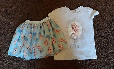 Aged 5-6 Years H&M ELSA Skirt and T-Shirt