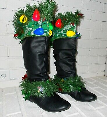 Ugly Christmas Sweater GRINCH Black Leather Slouch LIGHT UP Knee High Boots 8 M