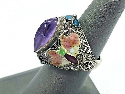 Antique Chinese Export Sterling Silver Amethyst Butterfly Enamel Ring