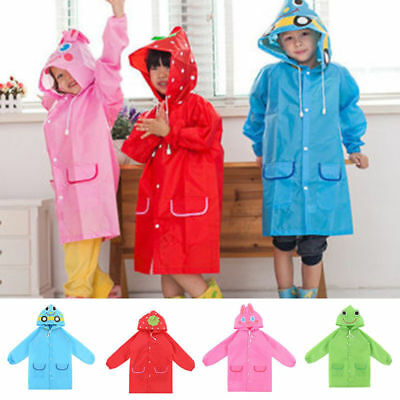 Kids Fun Rain coat Waterproof Hooded Poncho Jacket Raincoat Duck lskn ting8