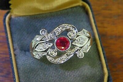 Vintage platinum ART DECO ANTIQUE 1920's 1930's RUBY DIAMOND FILIGREE ring