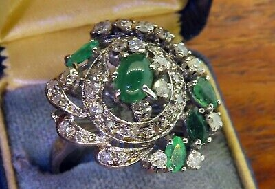 Vintage palladium ART DECO ANTIQUE 1920's 1930's COLOMBIAN EMERALD DIAMOND ring