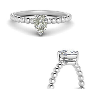 3.00+ Ct Pear Near White Moissanite Diamond Solitaire Ring .925 Silver Ring