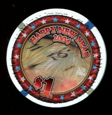 $1 Las Vegas Four Queens New Year 2004 Casino Chip - Uncirculated