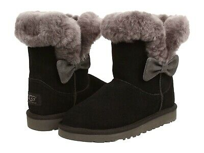 Ugg Australia Kourtney  Black Grey  Bow 1005398  Youth / Kids Boot NEW