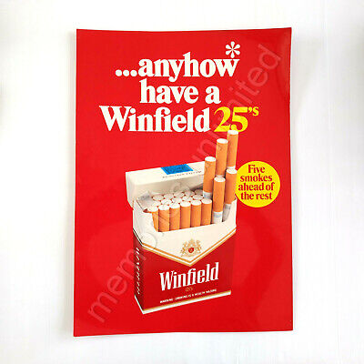 "1970s WINFIELD 25's DOUBLE-SIDED STORE DISPLAY POSTER ""anyhow have a Winfield"""