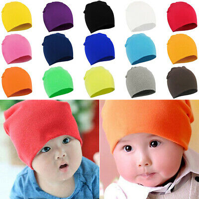 Solid Color Cotton Beanie For Baby Boy Girl Kids Children Soft Knitted Hat Cap