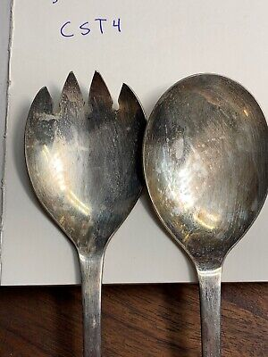 """Vintage Silver Plate Italy Serving Salad Spoon & Fork Set 9 1/4"""" long - CST4"""