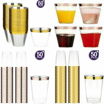 50/60pcs Disposable Plastic Cups Juice Wine Champagne Drink Cocktail Xmas Party